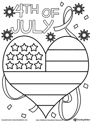 American Flag Heart Coloring Pages Holiday 4th of july <b>coloring ... | 400x300
