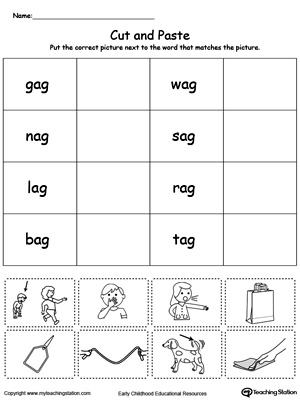AG Word Family Picture and Word Match | MyTeachingStation.com