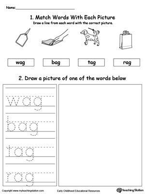 AG Word Family Phonics and Writing Practice