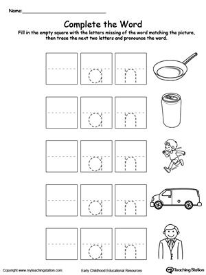 Man Worksheet   The -an Word Family   PrimaryLearning.org