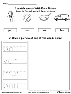 AN Word Family Phonics and Writing Practice