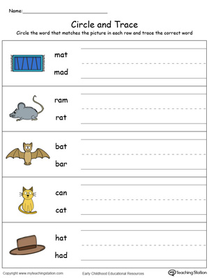 Identify Word and Write: AT Words in Color | MyTeachingStation.com