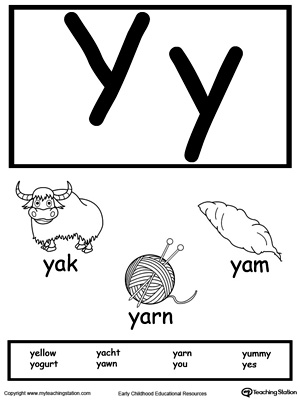 Letter Y Printable Alphabet Flash Cards for Preschoolers