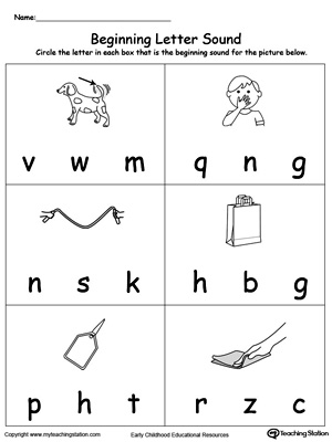 Practice recognizing the sounds and letters at the beginning of words with this AG Word Family worksheet.