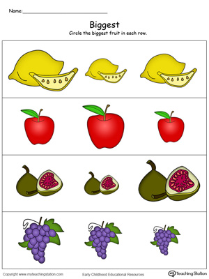 Biggest Worksheet: Identify the Biggest Fruit in Color