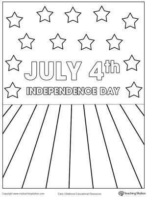 Celebrating July 4th Independence Day Coloring Page