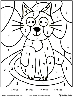 Color by number cat in this printable worksheet. Browse more color-by-number worksheets.