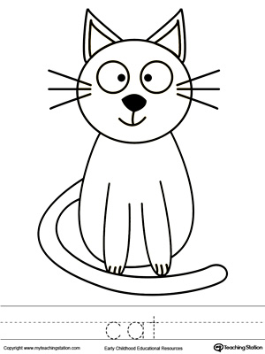 Cat Coloring Page and Word Tracing