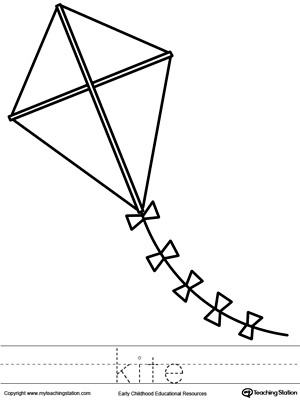 Kite Coloring Page and Word Tracing