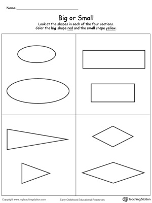 Learn the concept of big and small by comparing big and small shapes in this printable worksheet.