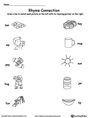 Free Worksheets Rhyming Words Worksheet First Grade Have Fun Teaching