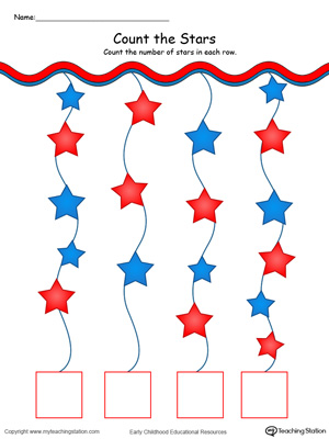 Count and match write the number stars in this patriotic math printable worksheet in color.