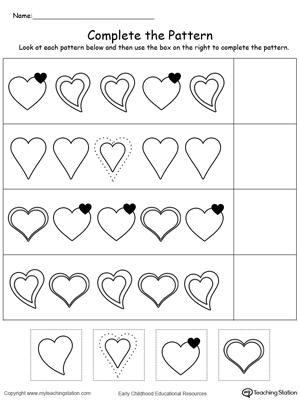 Free Printable Spring Patterns Worksheet for Kindergarten