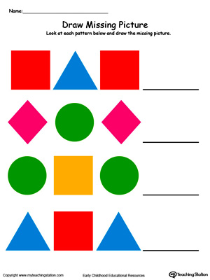 Learn to recognize and complete patterns in this Draw and Color the Missing Shape to Complete the Pattern printable worksheet.