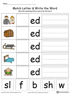 Place the missing letter in this beginning sound ED Word Family printable worksheet in color.