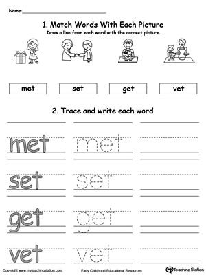 English worksheets: - et word family