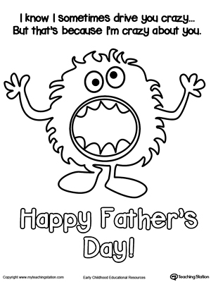 Father's Day Card Crazy About You Coloring Page
