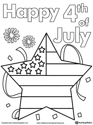 4th of July Star Flag Coloring Page