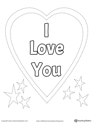 Kindergarten printable worksheets myteachingstation trace and color i love you heart ccuart Gallery