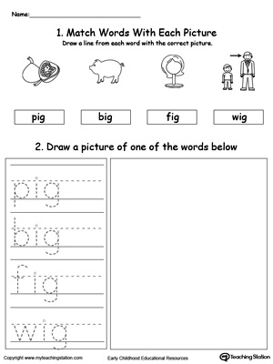 IG Word Family Phonics and Writing Practice