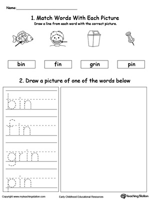 IN Word Family Phonics and Writing Practice