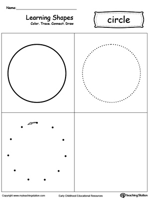 Learning Shapes: Color, Trace, Connect, and Draw a Circle