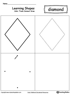 Learning Shapes: Color, Trace, Connect, and Draw a Diamond