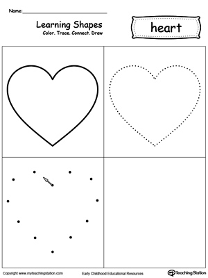 Learning Shapes: Color, Trace, Connect, and Draw a Heart