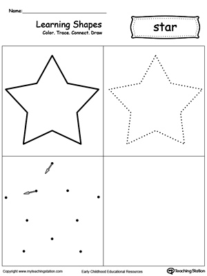 Learning Shapes: Color, Trace, Connect, and Draw a Star