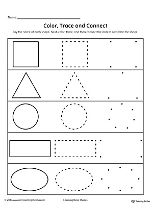 Learning Basic Shapes: Color, Trace, and Connect