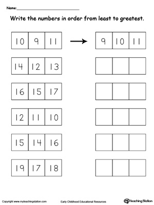 Sort numbers 10 through 19 from least to greastest in this math printable worksheet for kindergarten.
