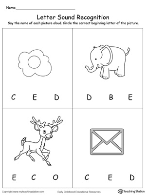 Practice recognizing the alphabet letter E sound in this picture match printable worksheet.