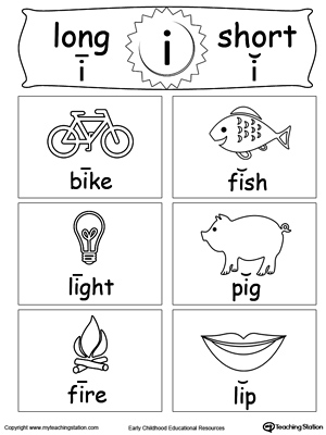 Short and Long Vowel Flashcards: I