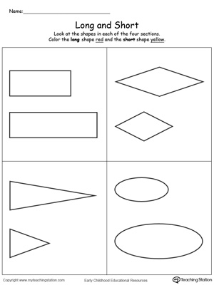 Long and short printable worksheets using shapes to teach preschoolers the concept of length and size.