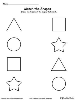 Teach your child basic shapes and how to group a matching shape with this math printable worksheet.