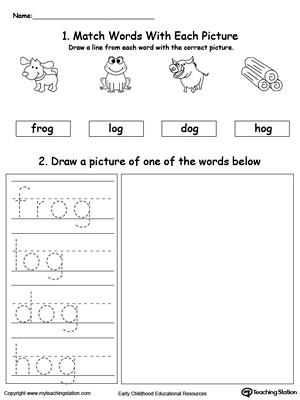 OG Word Family Phonics and Writing Practice