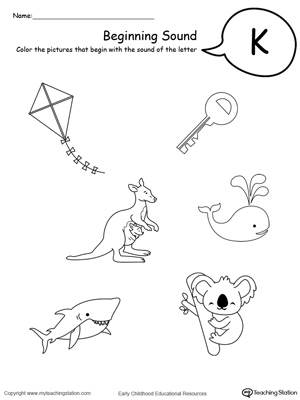 Kindergarten printable worksheets myteachingstation beginning sound of the letter k spiritdancerdesigns