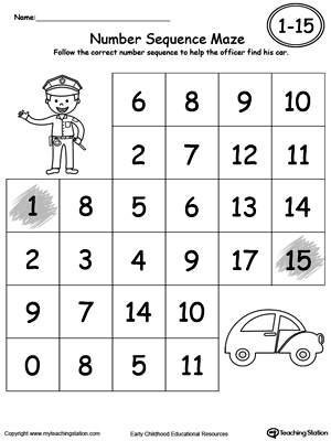 Practice Number Sequence With Number Maze 1-15