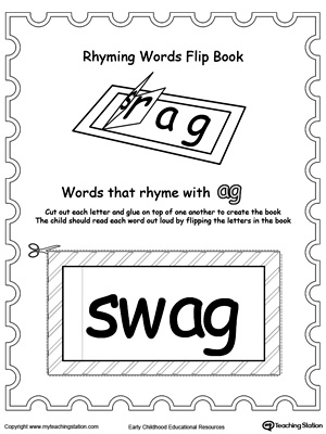 Use this Printable Rhyming Words Flip Book AG to teach your child to see the relationship between similar words.