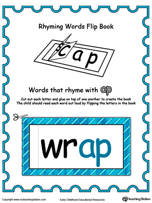 Use this Printable Rhyming Words Flip Book AP in Color to teach your child to see the relationship between similar words.