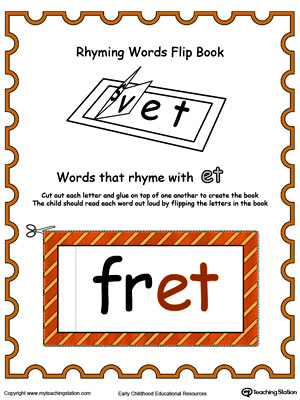 Use this Printable Rhyming Words Flip Book ET in Color to teach your child to see the relationship between similar words.