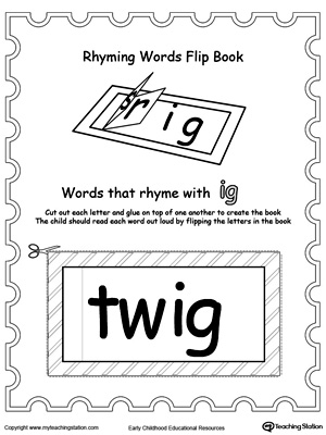 Use this Printable Rhyming Words Flip Book IG to teach your child to see the relationship between similar words.