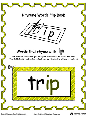 Use this Printable Rhyming Words Flip Book IP in Color to teach your child to see the relationship between similar words.