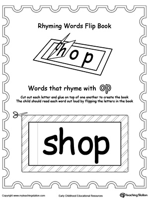 Use this Printable Rhyming Words Flip Book OP to teach your child to see the relationship between similar words.