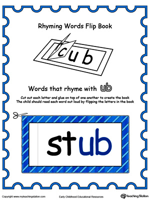 Use this Printable Rhyming Words Flip Book UB in Color to teach your child to see the relationship between similar words.