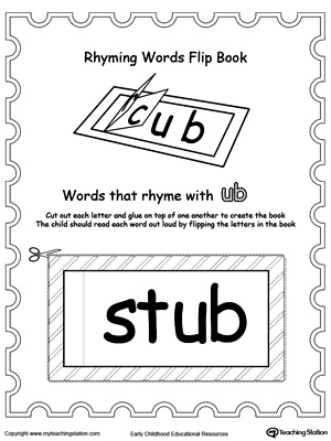 Use this Printable Rhyming Words Flip Book UB to teach your child to see the relationship between similar words.
