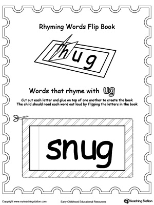 Use this Printable Rhyming Words Flip Book UG to teach your child to see the relationship between similar words.