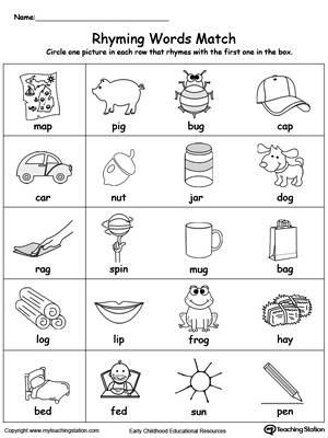 Rhyming Words Match | Rhyming words, Printable worksheets and Phonics
