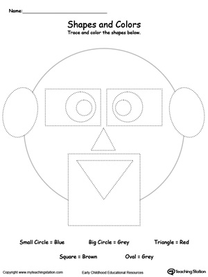 Practice fine motor skills while learning shapes with this Trace Shapes to Make a Face printable worksheet.
