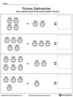 Practice subtracting numbers using pictures in this math printable worksheet. Browse other free subtraction worksheets.